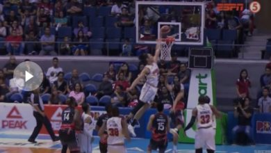 Photo of WATCH: Japeth Aguilar with a chasedown block on Alex Mallari!