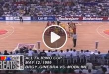 Photo of WATCH: Brgy. Ginebra vs Mobiline [QF Game 2 | 1999 All-Filipino Cup | May 12, 1999]